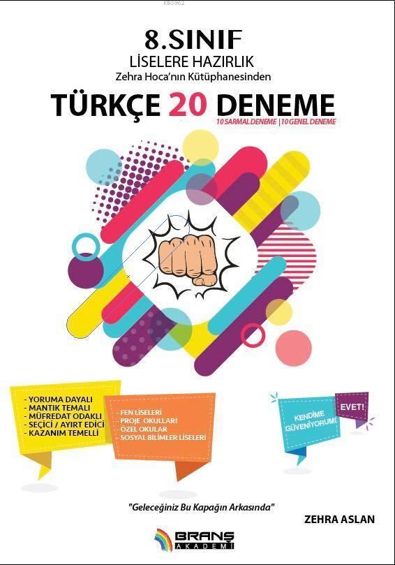 8. Sınıf Liselere Hazırlık Türkçe 20 Deneme; Zehra Hoca'nın Kütüphanesinden