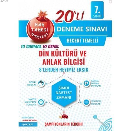 Nartest Yayınları 7. Sınıf Din Kültürü ve Ahlak Bilgisi Nar Tanesi 20 li Deneme Sınavı Nartest