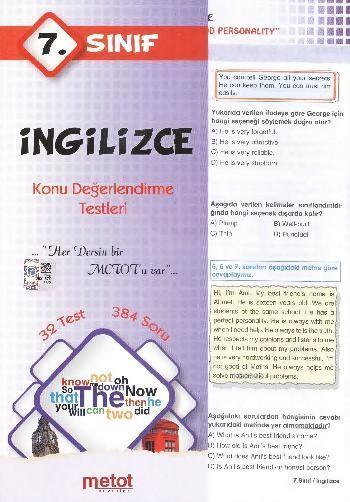 7. Sınıf İngilizce Konu Değerlendirme Testleri