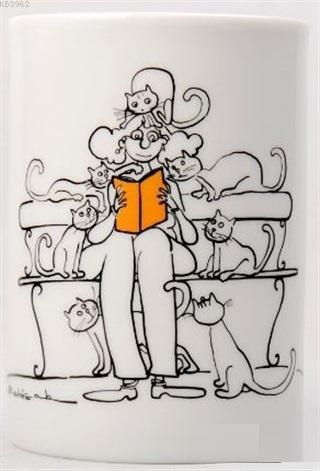 Kupa (Porselen) - Kedili Kadın