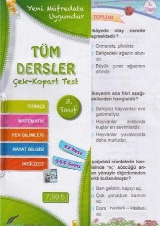 3.Sınıf Tüm Dersler Çek Kopart Yaprak Test