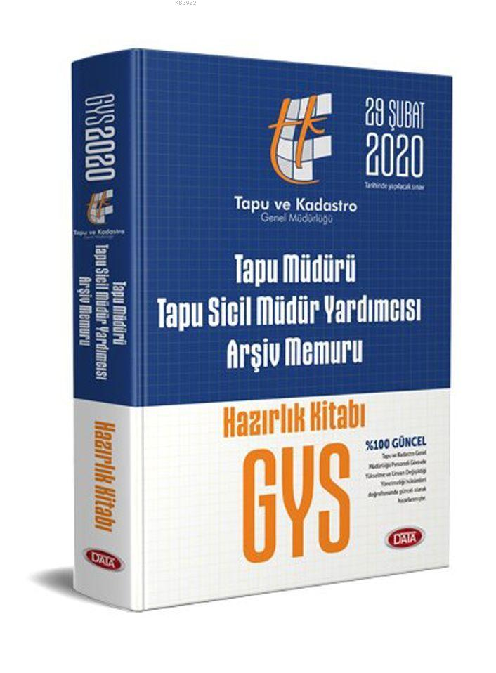 Data Yayınları GYS Tapu Müdürü Tapu Sicil Müdür Yardımcısı Arşiv Memuru Hazırlık Kitabı