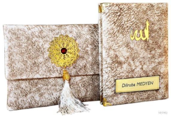 Nubuk Kumaş Kaplı ve Çantalı Yasin Kitabı Seti -Krem