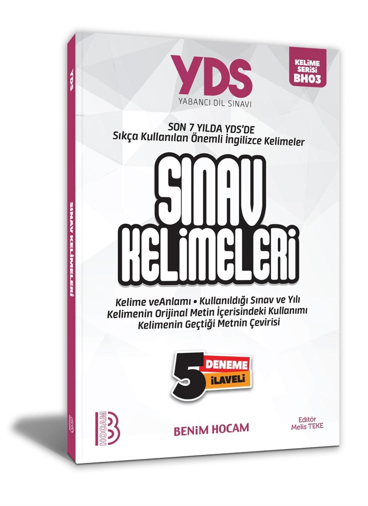 YDS Sınav Kelimeleri 5 Deneme İlaveli Benim Hocam Yayınları