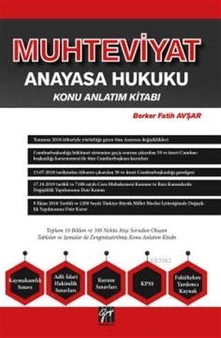 Muhteviyat Anayasa Hukuku Konu Anlatım Kitabı