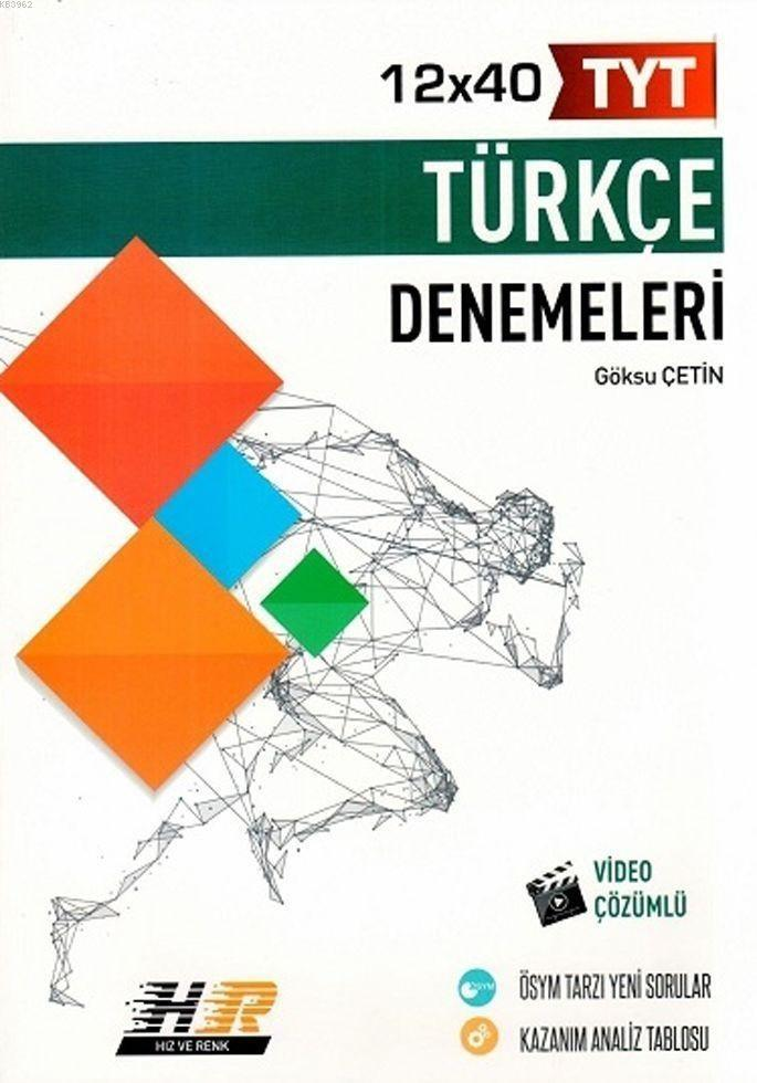 Hız ve Renk Yayınları TYT Türkçe 12 x 40 Denemeleri Hız ve Renk