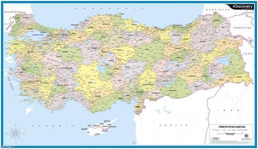 Discovery Channel Duvar Haritaları; Türkiye Siyasi