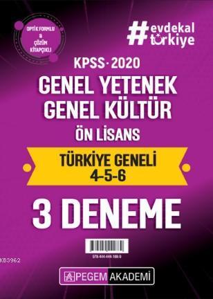 2020 KPSS Genel Yetenek Genel Kültür Ön Lisans Türkiye Geneli Deneme (4.5.6) 3`lü Deneme Seti