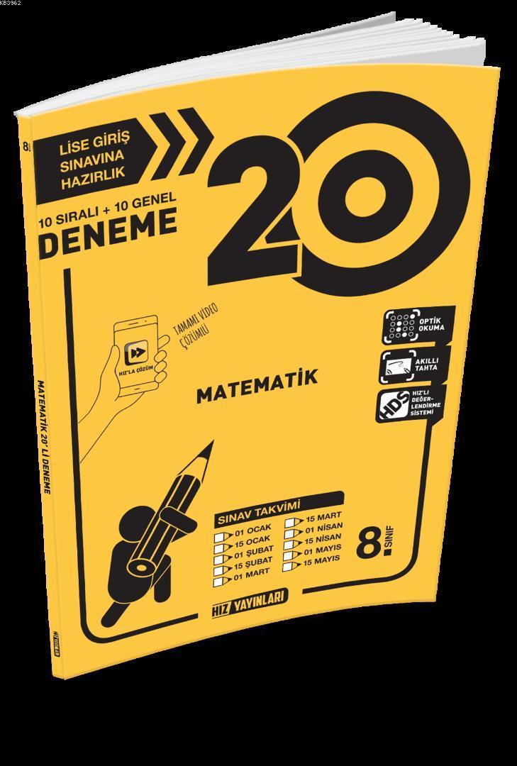 Hız Yayınları 8. Sınıf Matematik 20 li Deneme
