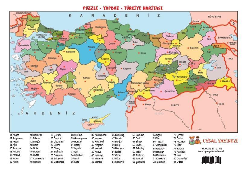 Yapboz 12 - Türkiye Haritası